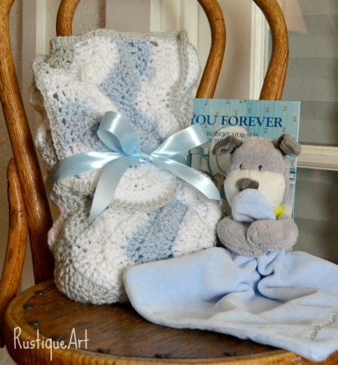 """Crocheted Baby Blanket, Snuggle Toy and """"I'll Love You Forever"""" Book"""