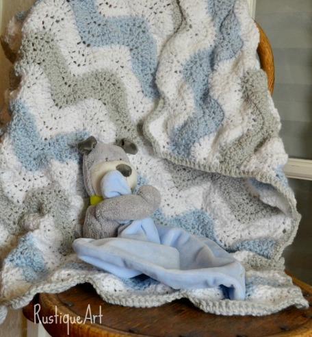Blue Gray & White Crocheted Rippled Baby Blanket