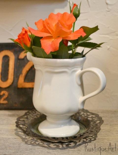 Ironstone pitcher desk flower vase