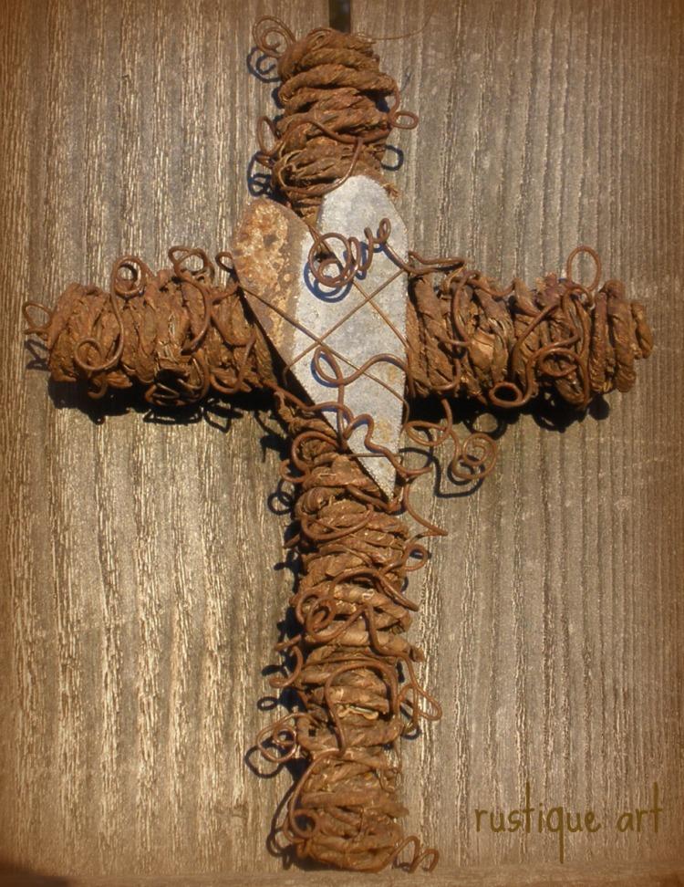 Rustic Wall Cross w. Tin Heart