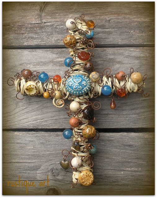 Shabby Cottage Wall Cross by Rustique Art